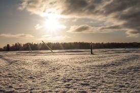 En snönära bild vid Gammel-Ahlnäs